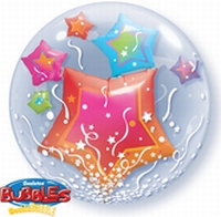 24 Inch Stars & Streamers Double Bubble Balloon