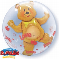 24 Inch Love Hearts Bear Double Bubble