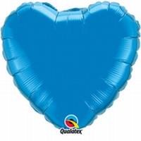18 Inch Sapphire Blue Heart Foil