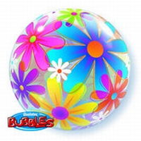 Q22 inch Fanciful Flowers Bubble Balloon
