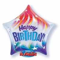 22 Inch Star Birthday Colourful Stripes Deco Bubble Balloon