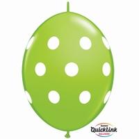 Quicklink 12 inch BIG POLKA DOTS LIME GREEN  1 X 50 stuks