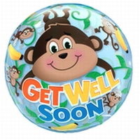 22 Inch Get Well Monkeys Bubble Balloon