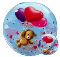 22 Inch Teddy Bears Floating Hearts Bubble Balloon