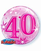 40th Pink Starburst Sparkle Single Bubble