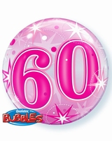 60th Pink Starburst Sparkle Single Bubble