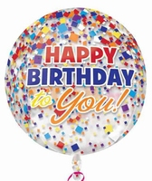Happy Birthday Clear Confetti Orbz Foil Balloon