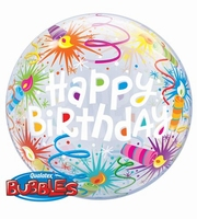 22 Inch Birthday Lit Candles Single Bubble