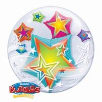 24 Inch Multicoloured Stars Double Bubble