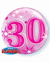 30th Pink Starburst Sparkle Single Bubble