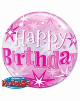 Birthday Pink Starburst Sparkle Single Bubble