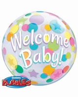 Welcome Baby Colourful Dots Single Bubble