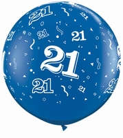 3ft Sapphire Blue 21 Around Giant Latex Balloons 2pk