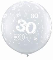 3ft Diamond Clear 30 Around Giant Latex Balloons 2pk