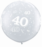 3ft Diamond Clear 40 Around Giant Latex Balloons 2pk