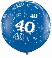3ft Sapphire Blue 40 Around Latex Balloons 2pk