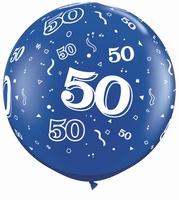 3ft Sapphire Blue 50 Around Giant Latex Balloons 2pk