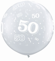 3ft Diamond Clear 50 Around Giant Latex Balloons 2pk