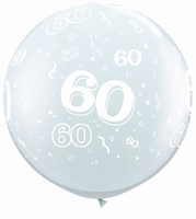 3ft Diamond Clear 60 Around Giant Latex Balloons 2pk