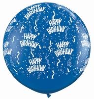 3ft Sapphire Blue Birthday Around Giant Latex Balloons 2pk