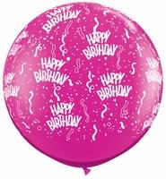3ft Jewel Magenta Birthday Around Giant Latex Balloons 2pk