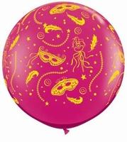 3ft Mardi Gras Party Giant Latex Balloons 2pk