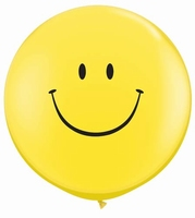 3ft Smiley Face Giant Latex Balloon Neck Down 2pk