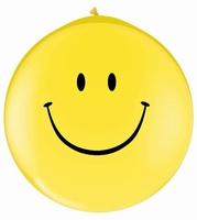 3ft Smiley Face Giant Latex Balloon Neck Up 2pk