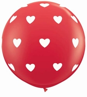 3ft Red Big Hearts Around Giant Latex Balloons 2pk