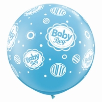 3ft Baby Boy Dots A Round Giant Latex Balloons 2pk