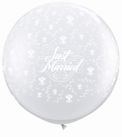 3ft Just Married Flowers Neck Down Giant Latex Balloons 2pk