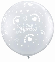 3ft Just Married Hearts Neck Down Giant Latex Balloons 2pk