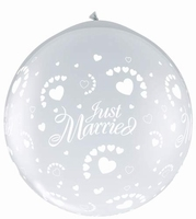 3ft Just Married Hearts Neck Up Giant Latex Balloon 2pk