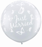 3ft Just Married Butterflies Neck Down Giant Latex Balloons