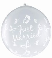 3ft Just Married Butterflies Neck Up Giant Latex Balloons 2p