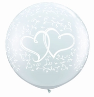 3ft Entwined Hearts Giant Latex Balloons 2pk