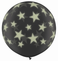 3ft Diamond Clear Glow Stars Around Giant Latex Balloons 2pk
