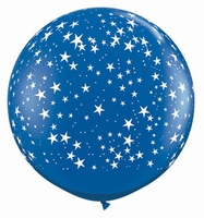 3ft Sapphire Blue With White Stars Giant Latex Balloons 2pk