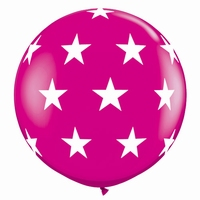 3ft Wild Berry Big Stars A Round Giant Latex Balloons 2pk