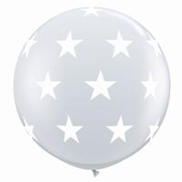 3ft Diamond Clear Big Stars A Round Giant Latex Balloons 2pk