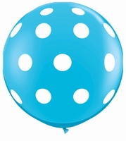 3ft Robins Egg Blue Big Polka Dots Giant Latex Balloons 2pk