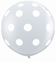 3ft Diamond Clear Big Polka Dots Giant Latex Balloons 2pk