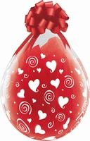 Qualatex 18 inch Swirling Hearts Diamond Clear Latex Balloon