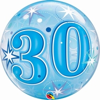 30th Blue Starburst Sparkle Single Bubble Balloons