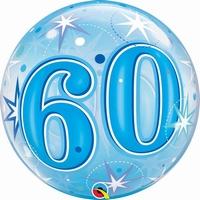 60th Blue Starburst Sparkle Single Bubble Balloonse