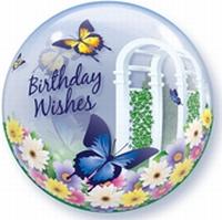 22 Inch Bubble birthday wensen in vlindertuin