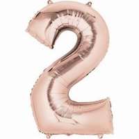 Number 2 Rose Gold Supershape Balloons