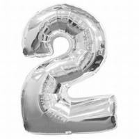 Number 2 Silver Supershape Balloons