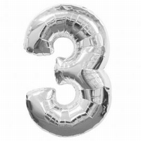 Number 3 Silver Supershape Balloons