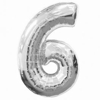 Number 6 Silver Supershape Balloons